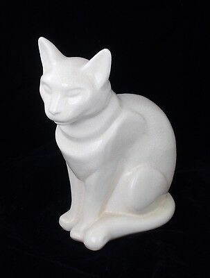 Rare Superb French Art Deco Cracklewear Pottery Cat Figure By Longwy France