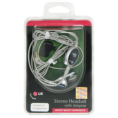 Original LG 2.5mm w/ Adapter Handsfree Stereo Earbud Headset for AX380 AX565