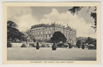 Derbyshire postcard - Chatsworth, The North and West Fronts