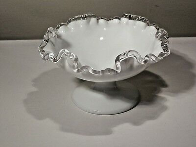 Vintage Fenton Silver Crest Low Footed Compote Excellent