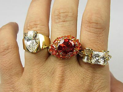 **estate Sterling Silver Lot Of 3 Cz Fashion Rings 23.3 Grams Size 6.25-10.25