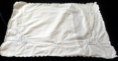 Vintage Embroidered MADEIRA Floral Boudoir or Baby Pillow Cover White Cotton