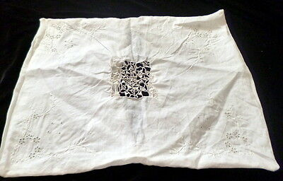 Vintage Embroidered & CROCHET LACE Boudoir or Baby Pillow Cover White Cotton