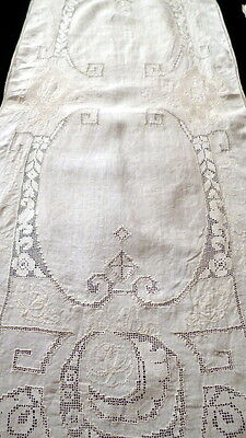Incredible 1800s Antique FRENCH Embroidered FILET LACE Runner & 7 Placemats