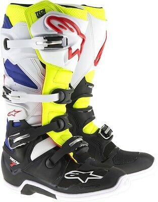 Alpinestars Tech 7 Offroad Motocross Boots White/Yellow/Blue Mens