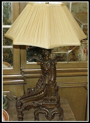 Antique French Bronze Angel Chenet Now a Designer Lamp