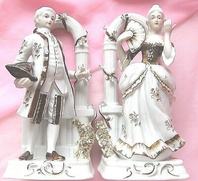 PAIR LARGE FIGURINES VICTORIAN MAN & WOMAN H/PAINTED Perfect