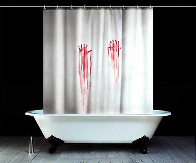 Blood Bath Shower Curtain Novetly Bathroom Horror Hand Print 180cm x 180cm