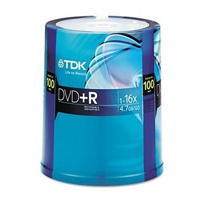 TDK48521 DVD+R Disc, 4.70 GB, 120 min, 16x, PK 100