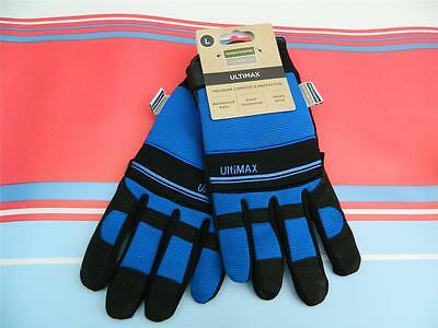 Town & Country Ultimax Large Mens Gardening Work Gloves size 9-10 Blue and Black