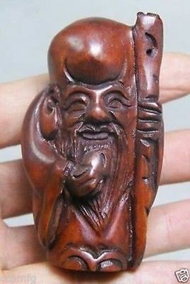 China Collectibles Old Boxwood Hand Carving Elder Netsuke