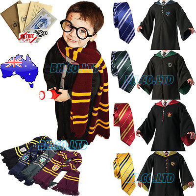AU Children Harry Potter Costume Cosplay Gryffindor Robe Cloak Cape /Tie+Letter