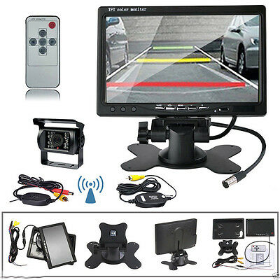 "Wireless 7"" Rear View Monitor Backup Camera Night Vision System For RV Bus Truck"
