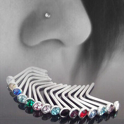 10X Stainless Steel Small Gem Crystal Screw Nose Stud Ring Body Piercing Jewelry