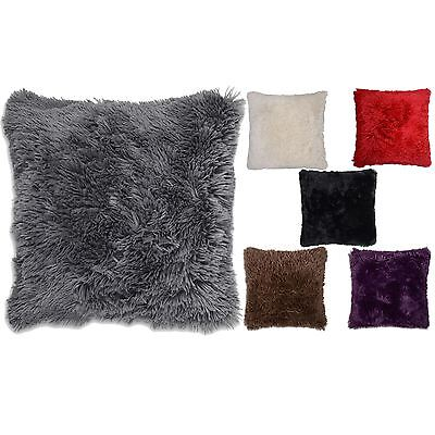 "4 x Long Pile Super Soft & Cuddly Shaggy 17x17"" (43x43cm) Faux Fur Cushion Cover"