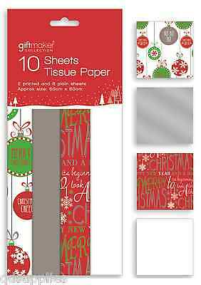 10 Sheets Christmas Tissue Paper Gift Wrap Red White Silver Bauble Design TISL