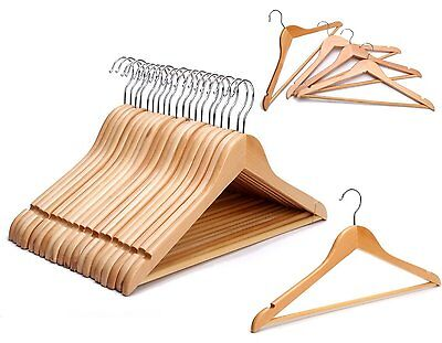 Wooden 10 - 100 High Quality Coat Clothes Hangers Shirt Suit Trouser Shoulder