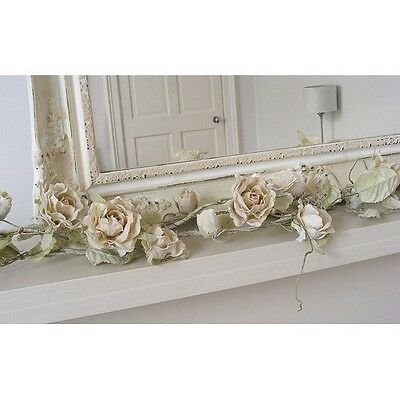 Cream Artificial Rose Garland Wedding Accessory Bedroom Shabby Vintage Chic Gift