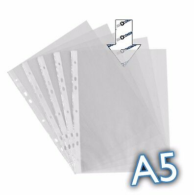 20x A5  Punched Pockets Clear Strong Poly Wallets for Ringbinder Lever Arch File