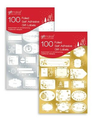 100 Gold & Silver Foiled Self Adhesive Christmas Gift Labels Name Tags XTSABK