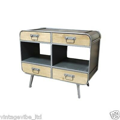 Retro Industrial Style Curved Metal Display Cabinet with Wooden Drawers