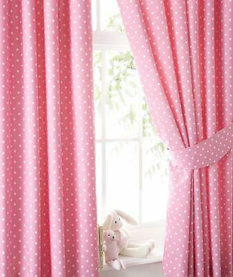 Polka Dot Spotty Pencil Pleat Lined Curtains & Tie Backs, Pink, 168 x 137cm