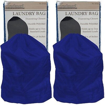 Set of 2 Heavy Duty Jumbo Sized Nylon Laundry Bag - Blue - Great for College