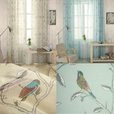 "1 Eyelet Shabby Chic Oriental Bird Vintage Voile Curtain Panel  54"" 72"" 84"" 90"""