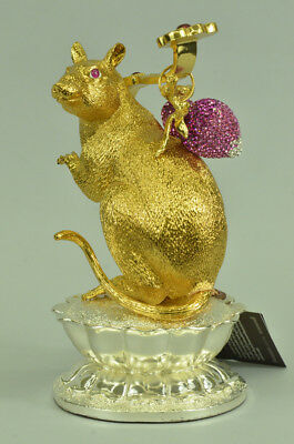 Handmade Cast Detailed Chinese Zodiac Happy Rat Home/Office Bronze Decoration