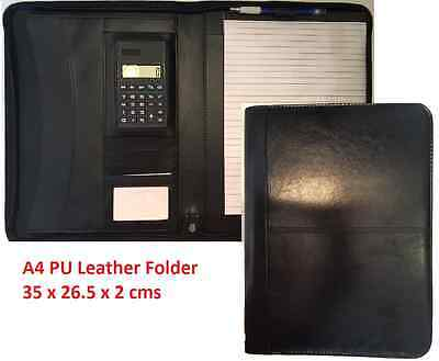A4 PU Leather Zipped Portfolio Business Conference Folder Organiser Case Bag