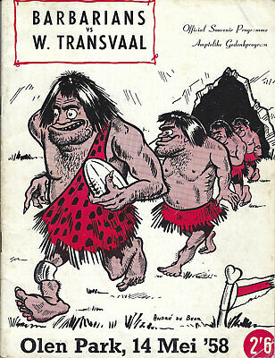 Transvaal v Barbarians - Official Souvenir Programme 10 May 1958 RUGBY PROGRAMME