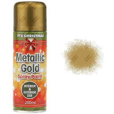 x1 200ml Metallic Gold Spray Paint Interior/Exterior Spray Aerosol Christmas