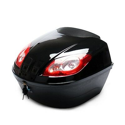 New Motorcycle Top Case Black Motorbike Storage Box Rear Luggage Trunk Accessory