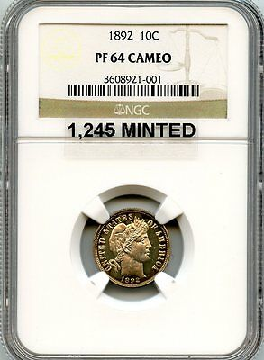 C7840- 1892 Proof Barber Dime Ngc Pf64 Cameo - 1,245 Minted