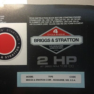 Briggs & Stratton 2-hp 1978-1980 Shroud Labels Decals set of 3