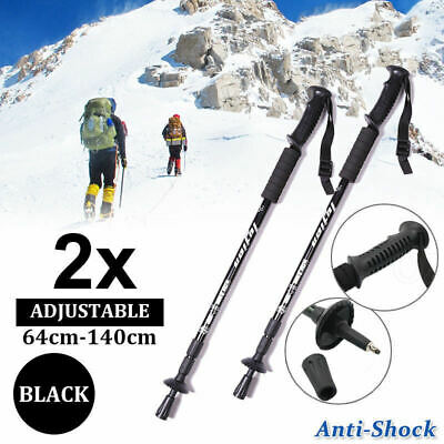 2x Anti Shock Adjustable Hiking Trekking Poles Walking Stick Camping BLACK AU