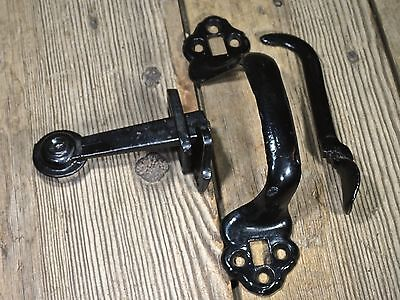 Thumb Latch set offset handle pull barn door old iron vintage screws black NOS