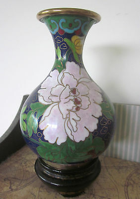 CLOISONNE VASE on wooden stand Chinese brass & enamel flower blossoms