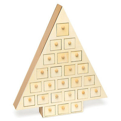 Christmas Countdown Wooden Advent Calendar Tree for Children to Paint Xmas Craft
