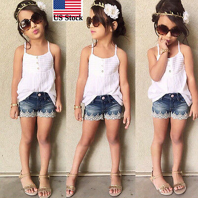 2pcs Kid Baby Girls Outfits Set Tank Top T-shirt +Jeans Pants Clothes 2-7Y US