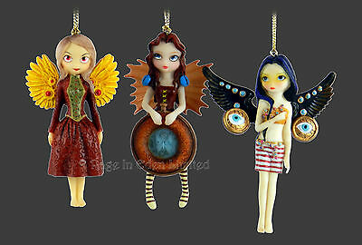 *MECHANICAL ANGELS* Set Of 3 Steampunk Goth Figurines By Jasmine Becket-Griffith