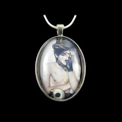 """*PAIN* Gothic Fantasy Art Silver Plated Pendant & 18"""" Chain By Michele Ann"""
