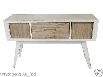 Vintage Design White Painted Retro Sideboard with Wooden Shutters