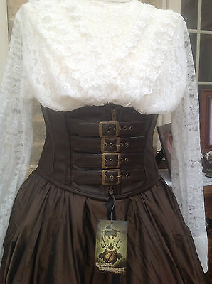 Whitby Goth Steampunk Golden Steam 4 Buckle Waspie Belt Corset 24/26 Inch Waist