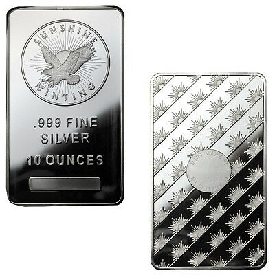 ON SALE! 10 oz Sunshine Silver Bars - 20 oz Total .999 fine (New, Lot of 2)