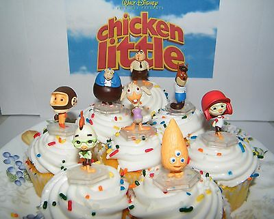 Disney Chicken Little Movie Cake Toppers Set of 8 with Foxy Loxy. Alien Kid Etc