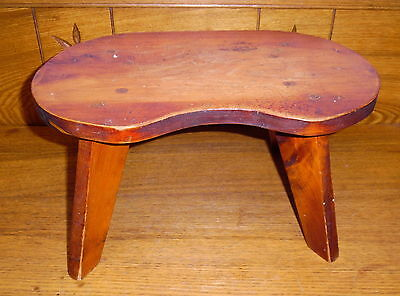 Vintage / Modern Wood Kidney Shaped Footstool