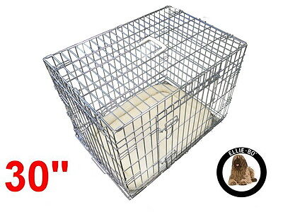 """Ellie-Bo 30"""" Medium Deluxe Dog Puppy Pet Cage Carrier Crate In Silver"""