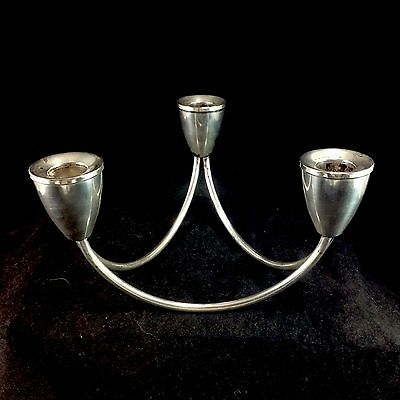 Duchin Weighted Sterling Silver Mexico Triple 3 Candle Holder Mid Century Modern