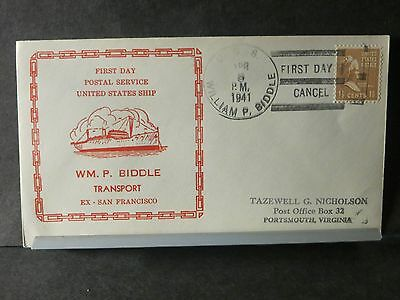 USS WILLIAM P. BIDDLE APA-8 Naval Cover 1941 FDPS Cachet SS SAN FRANCISCO